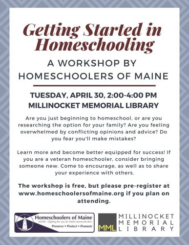 Getting Started in Homeschooling: A Workshop with Homeschoolers of Maine